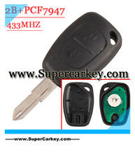Free shipping  (1 pcs ) 2 Button Remote Key With PCF7947 Chip NE73 Blade For Renault Traffic Clio