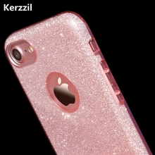 Kerzzil Candy Colors Bling Card+PC Hard Case For iPhone 7 6 6S Plus Clear Shining Powder Back Cover For iPhone 6 7 6S Coque