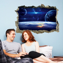 3D galaxy break wall sticker boys home bedroom decoration cosmic planet wallpaper mural self adhesive and cheap