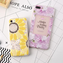 LOVECOM For iPhone 7 7 Plus Anti Shock Mobile Phone Cases Scrub Soft TPU Sunflower & Rose Back Cover Coque Capa YC2002