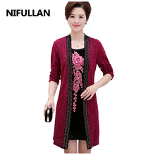 NIFULLAN Fake Two Pieces Women Dresses Spring Autumn Mother Long Sleeve Gold Velvet Casual Dress Plus Size Embroidery Vestidos