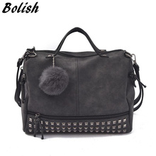 Bolish Vintage Nubuck Leather Top-handle Bags Rivet Larger Women Bags All-match Hair Ball Shoulder Bag Motorcycle Messenger Bag
