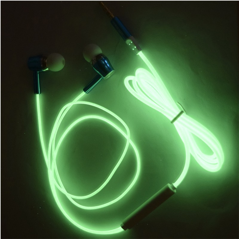2016 Glow In The Dark Earphones Luminous Headphones 3.5MM Glowing Headset In-Ear Stereo Sport Earpiece With Mic For iPhone Nokia<br><br>Aliexpress
