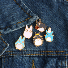 2017 Hot Cartoon Cute Animal Brooch High Quality 5 style Totoro Brooch Enamel Pin Fashion Denim Jacket Badges Brooches Jewelry(China)