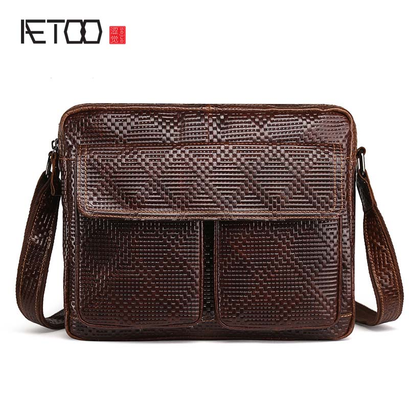 AETOO new arrival 100% head cow leahter messenger bag men oil wax leather skin layer cowhide Knitting briefcase men travel bag<br>