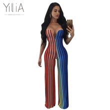 Yilia 2018 Women Romper Bohemian Print Jumpsuit Summer Strapless Long Overalls Jumpsuit Chest Wrapped Strapless Wide Leg Pant(China)