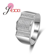 JEXXI Ups and Downs Charm Wave Design Women Fashion Rings With White Clear Cubic Zirconia 925 Sterling Silver Wedding Decoration