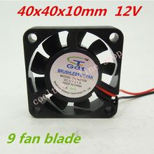 10pcs/lot 40x40x10mm 4010 fans 9 fan blade 12 Volt Brushless DC Fans cooling radiator Free Shipping(China)