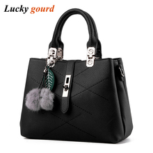 2016 New Lady Bag Cheap Fashion Hangbag Women Messenger Bags PU Leather Black Handbags Free Shipping D049(China)