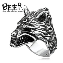BEIER Stainless Steel Wolf Head Ring For Man Cool Punk Man's Fashion Animal Jewelry Best Gift For Friend High Quality BR8-160(China)