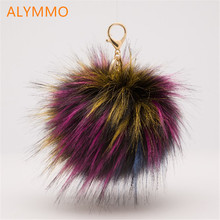 Manufacturers selling 13 cm high imitation raccoon fur ball ball raccoon fur clothing hat Damao car accessories spot