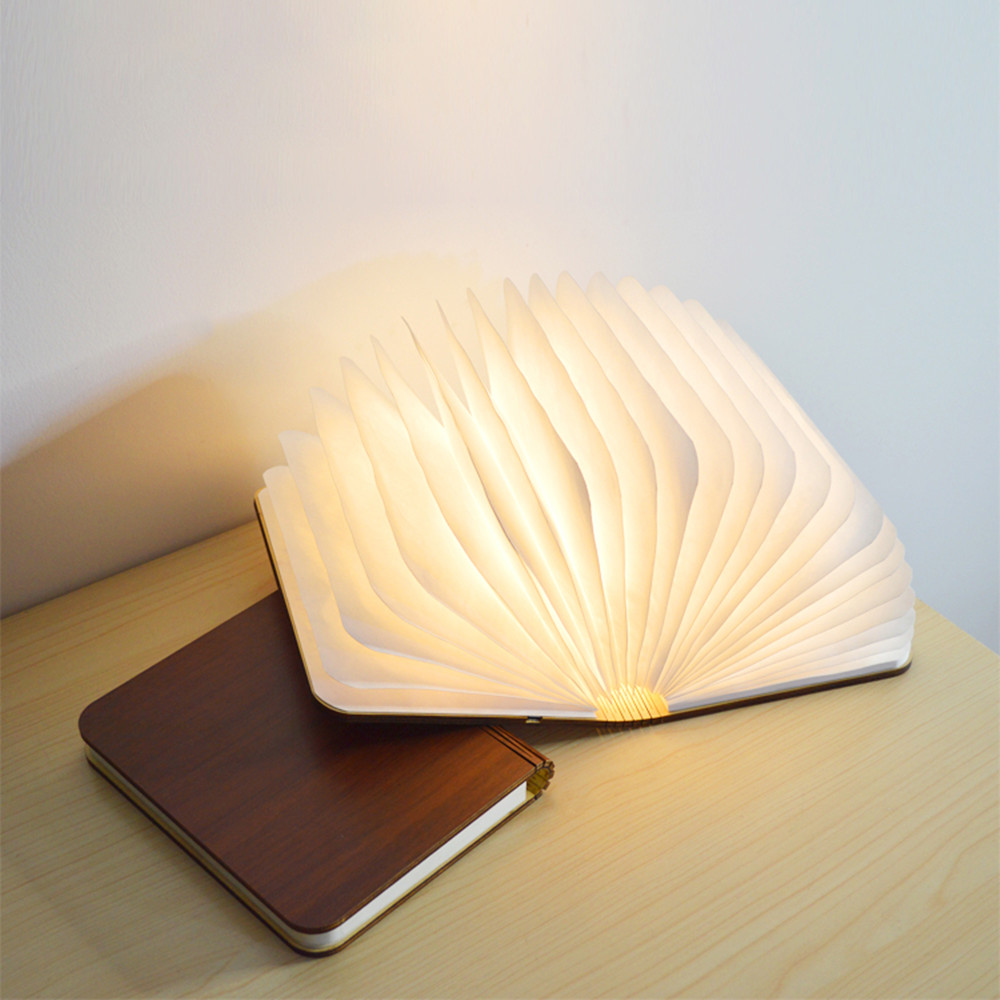 Creative Wooden LED Book Light Portable Folding Rechargeable Colorful Romantic Night Light Children Kids Baby Bedside Lamp Gift (5)
