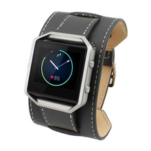 Leather Double Tour Cuff Watch Band Strap For Fitbit Blaze LED Watch Tracker, Bracelet type Gray(China)