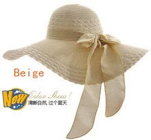 2017 New Wholesale and Retail Fashion Women Wide Large Brim Floppy Summer Beach Sun Straw Hat Cap with big bow  Free Shipping