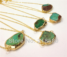H-N012PSYSX059G 5PCS Free Form Apple Green Chrysoprase Stone Necklace Gold Electroplated(China)