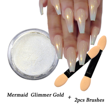 1pcs Gradient Gold Mermaid Nail Glitter Powder Shiny Glimmer Flakes Nail Art Tips Decoration Tips +2pcs Brushes SAND262-G