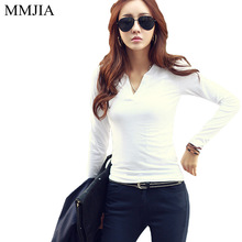 Buy T Shirt Women Long Sleeve T-Shirt Women Tops 2017 Fashion Tee Shirt White V-Neck Slim Casual Body Woman Clothes Plus Size Blusa for $8.98 in AliExpress store