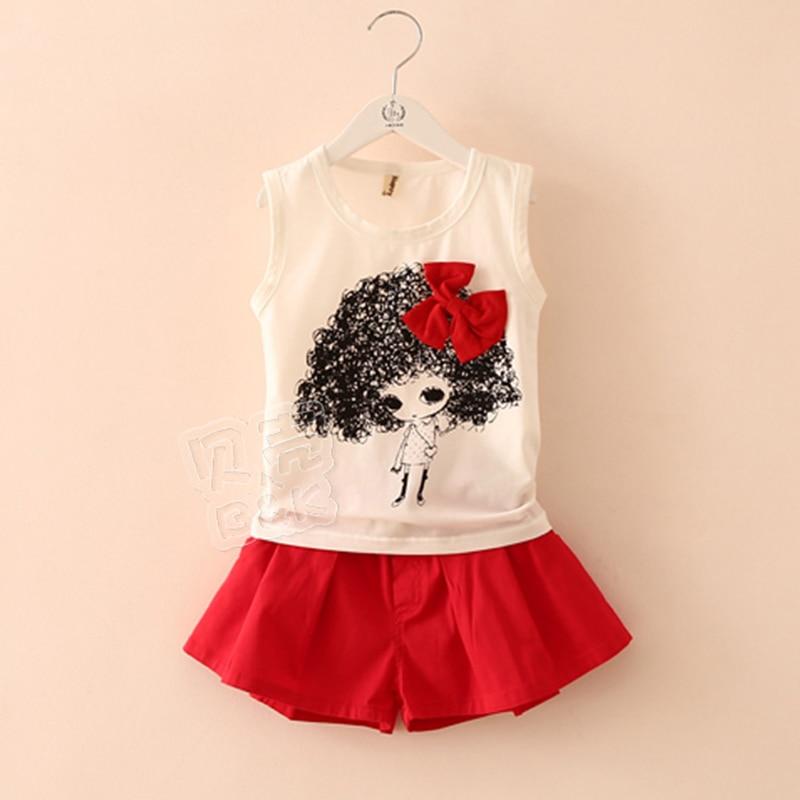 T-shirt Girl Cartoon Doll Girls T Shirt+Girls Shorts Solid 2 Pieces Fashion Girls Clothing Sets 2017 Summer Kids Clothes 2239<br><br>Aliexpress