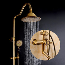 Shower Faucets Luxury Bath Shower Sets Bathroom Wall Mounted Hand Held Antique Brass Shower Head Kit Shower Faucet Set 9712(China)