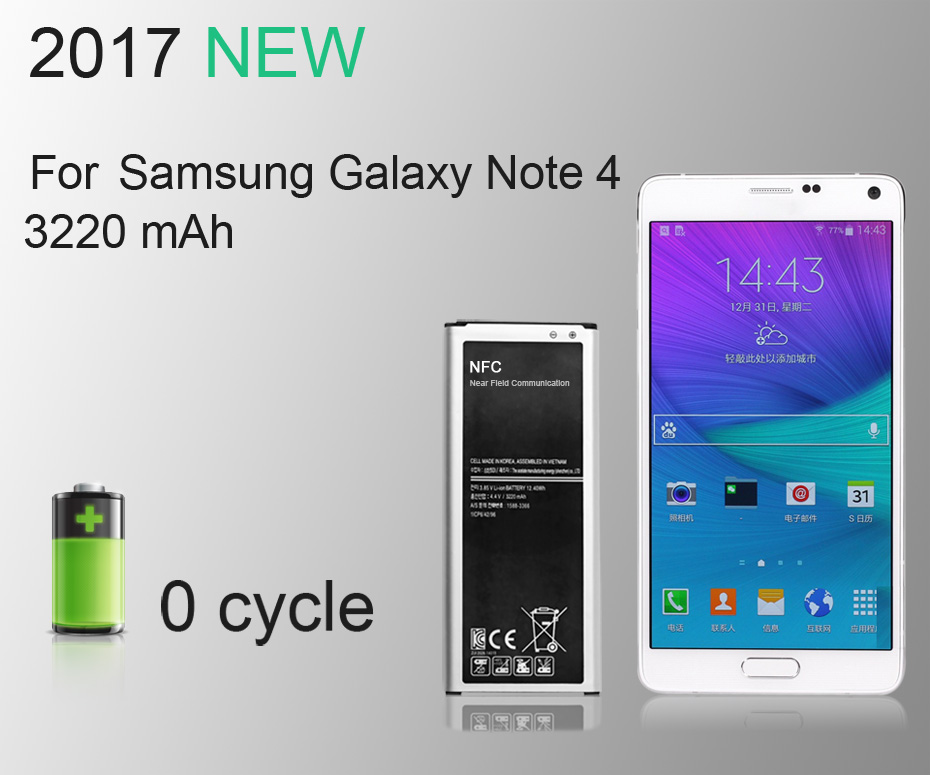 NEW 2017 100% Original KHP Phone Battery For Samsung Galaxy Note 4 N910 N910C N910A N910V Battery Replacement Mobile Batteries (7)
