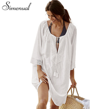 Buy Simenual Big sizes lace splice boho summer dress white deep v neck sexy hot short beach dresses women tassel pareos outputs sale for $11.99 in AliExpress store