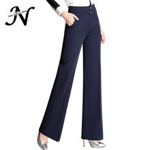 4XL Plus Size Wide Leg Pants Women High Waist OL Work Office Trousers 2017 New Arrival Gold Buttons Women's Pants Black Red Blue(China)