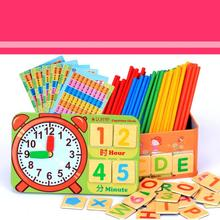 Montessori Wooden Math Counting Sticks Baby Educational Toys Teaching Aids Children Magnetic Mathematical Operation Box Clock(China)