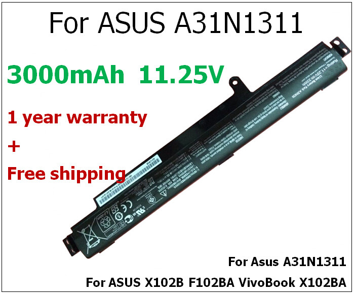 33WH 3000mAh laptop battery for ASUS A31N1311 X102B F102BA VivoBook X102BA<br>