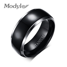 Modyle High Quality Men Titanium Rings Black Men Engagement Wedding Rings Jewelry 8mm Wide High Polished Ring Free Shipping(China)