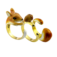 3 Piece Cute Animal Ring Acorn Squirrel Tail Trio Fun Jewelry Gold Color Charm Unique Enamel Ring Anillos Mujer Friendship Gifts(China)
