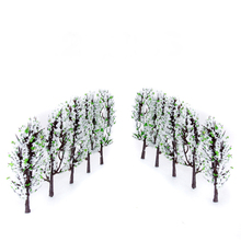 New 20pcs Plastic Scenery Landscape Train Model Trees w/ White + Green Flowers Scale 1/200 Layout Garden Landscape Model Trees