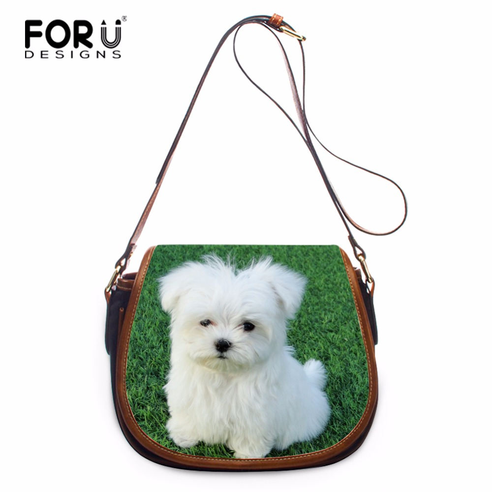 FORUDESIGNS Cute Pet Dog Printed Women Adjust Strap Shoulder Bag Lightweight Crossbody Bag Girls PU Leather Flap Bag Custom<br>
