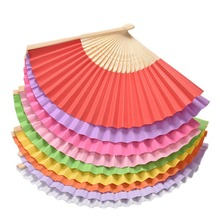 Chinese Style Bamboo Paper Pocket Fan Folding Foldable Hand Held Fans Wedding Party Favor Event Party Supplies Candy Color 1PCS