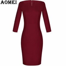2018 Women Winter Bodycon Dress Long Sleeve Wear Fall Fashion Wine Red with Zipper Femme Longue Slimming Party Elegant Robes(China)