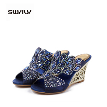 Bohemian Wedge high heels Women/female flip flops golden shine princess open toe sandals Ladies Flat Slippers summer shoes