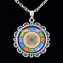 Retro ethnic style tile pattern chain necklace New Arrived Krishna Mediterranean pendant Latest Buddhism Mandala Jewelry C 080(China)