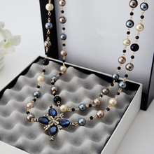 2016 New Hot  Fashion Women Cloth Accessories Simulated Pearl  Necklace   Pendant  Long  Cross Necklace  X041