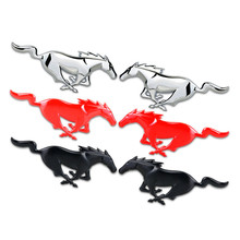 New Silver Red Black Chrome Metal Zinc Horse Badge Car Styling Refitting Body Emblem Mark 3D Sticker For Ford Mustang Mondeo etc