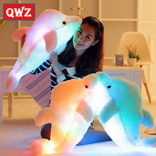 QWZ 45cm Colorful Led Light Pillow Cushion Cute Stuffed Animals Dolphin Stuffed Plush Doll Toy Girl Birthday Gift Christmas(China)