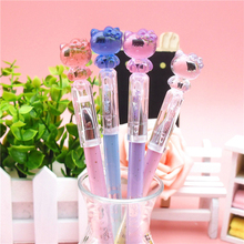 New 3X Kawaii Cute Hello Kitty Crystal Cap Gel Pen Writing Signing Pen Student Stationery School Supply Kids Promotion Gift