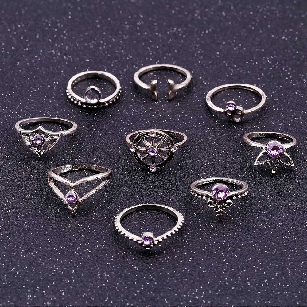 9Pcs/Set Bohemian Mermaid Crystal Ring Set