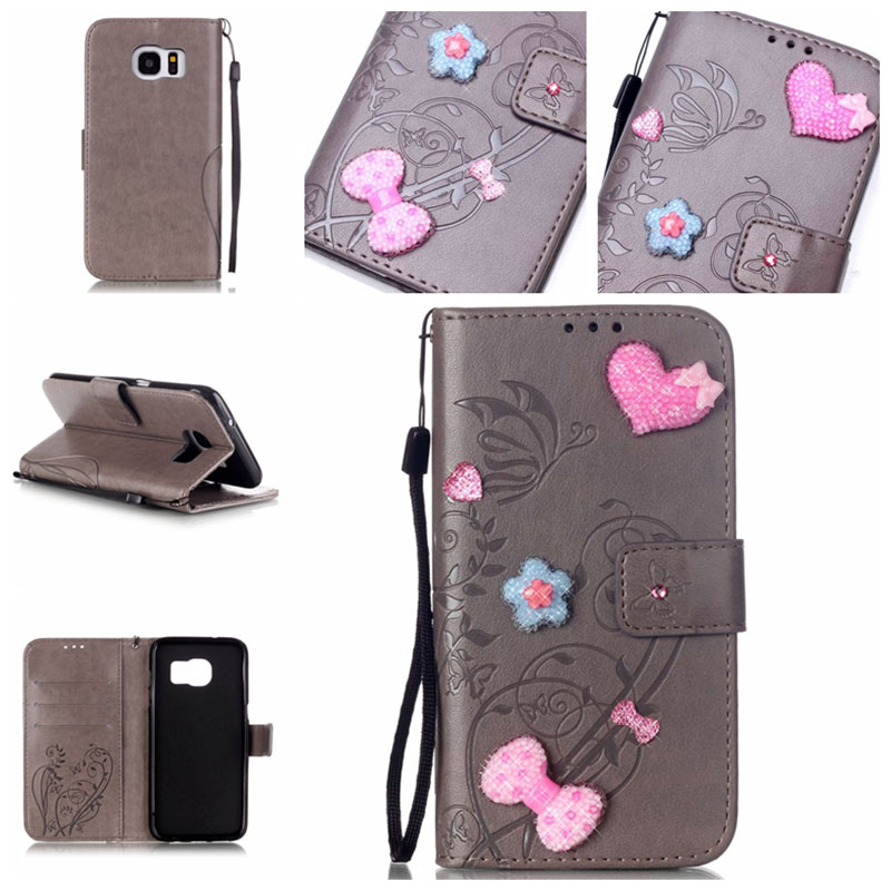 3D Handmade Embossing Flower Leather Case Hand Strap Cover For Samsung Galaxy S2 S3 S4 S5 S6 S7/S6 S7 Edge Plus/S3 S4 S5 mini(China (Mainland))