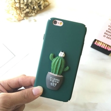 New Flower Green Cactus 3D Hard Case Cover For iphone 6 6s 7 Flower Phone Case Cover Cute Cactus Case(China)
