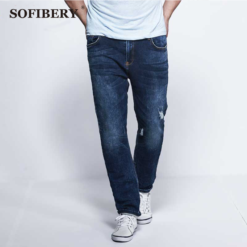 SOFIBERY jeans modern high elastic large size mens jeans new Slim ultra-comfortable knit jeans feet large size jeans 36-52Одежда и ак�е��уары<br><br><br>Aliexpress