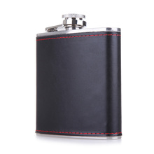 6oz Hip Flask PU Leather Wrapped Flagon Wine Pot Portable Stainless Steel Whiskey Wine Bottle Container Alcohol Drinkware