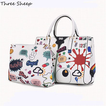 Graffiti Woman Hand Bag White Tote Bags Cute Eye Handbag Women Fashion Handbags Ladies Hand Bags Designer Sac a Main Bolso