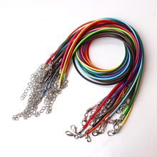 Multi Colors 20pcs/lot 2.0mm 17''-19'' Ajustable Waxed Cords Necklace Chain Supplies with Lobster Clasp
