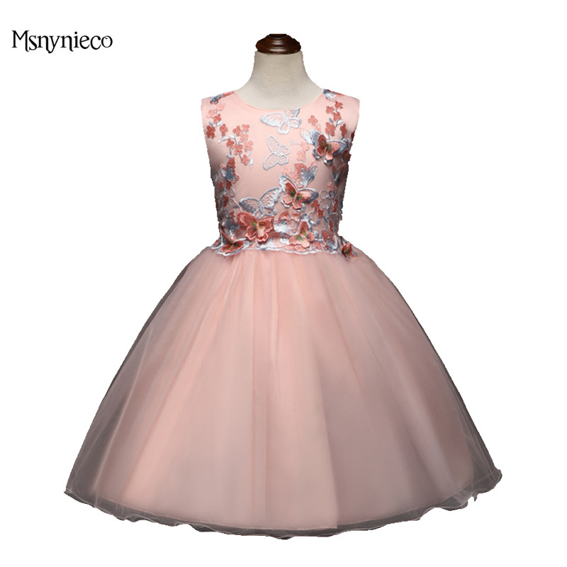 2018 Fashion Butterfly Girls Dress Embroidery Wedding Bridesmaid Brand Summer Sleeveless Princess Party Dresses Baby Clothing<br>