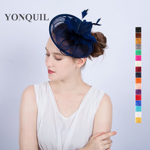 New design navy or 17 colors fascinator base feather flower hat elegant women's church royal ascot hat party accessories SYF118(China)