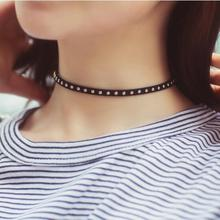 Free shipping! Cute women trendy rivet black flase leather chokers necklace hollow lace water drop link chain jewelry accessory(China)